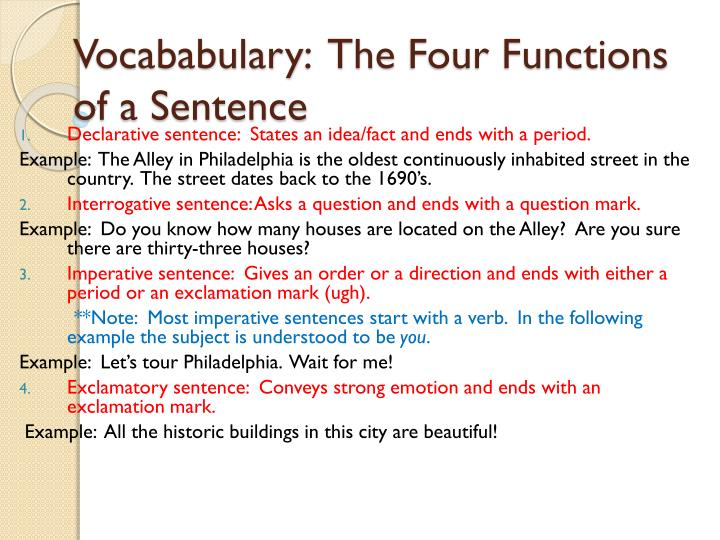 vocababulary the four functions of a sentence n.