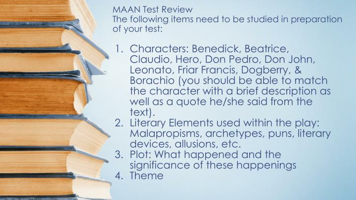 maan test review the following items need to be studied in preparation of your test n.