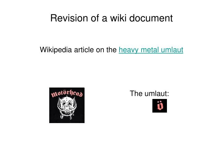 Revision of a wiki document