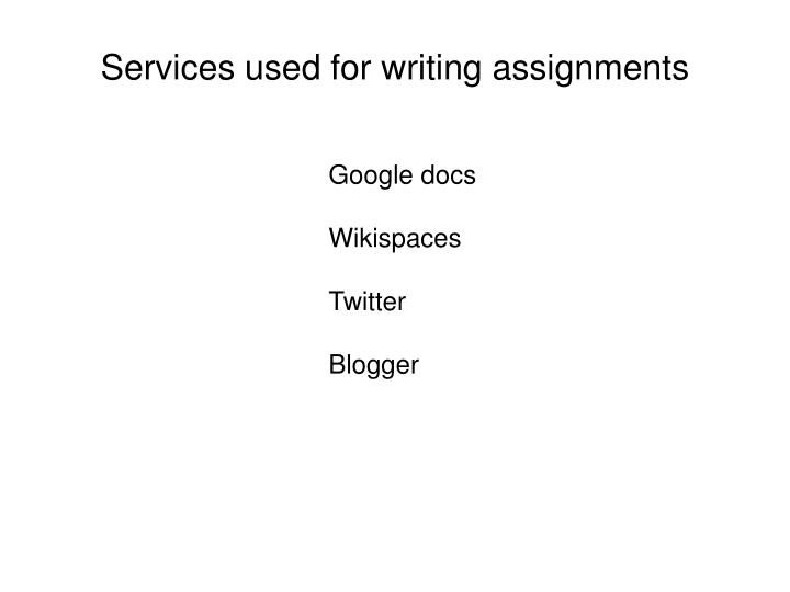 Services used for writing assignments