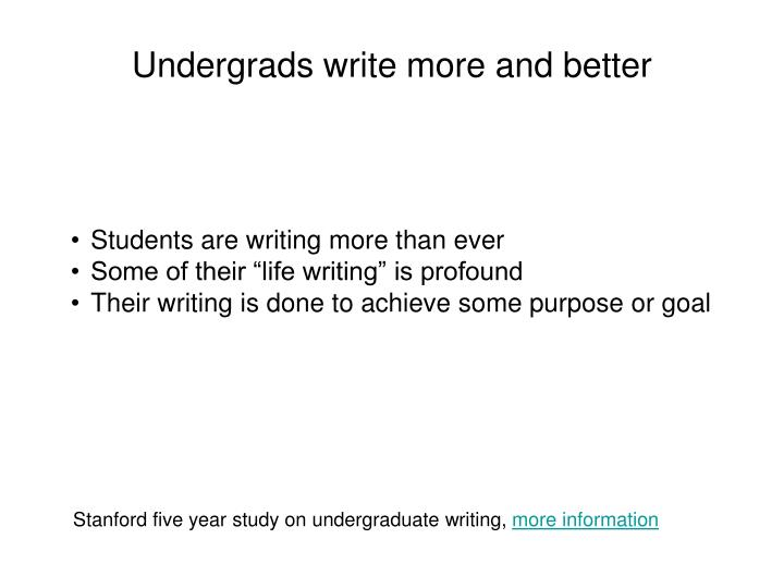 Undergrads write more and better