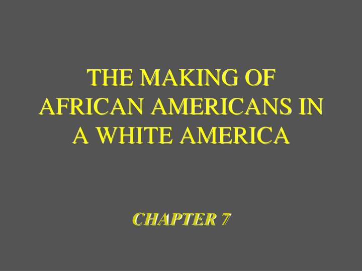 the making of african americans in a white america n.