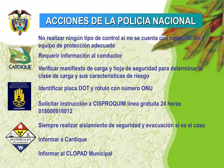 ACCIONES DE LA POLICIA NACIONAL