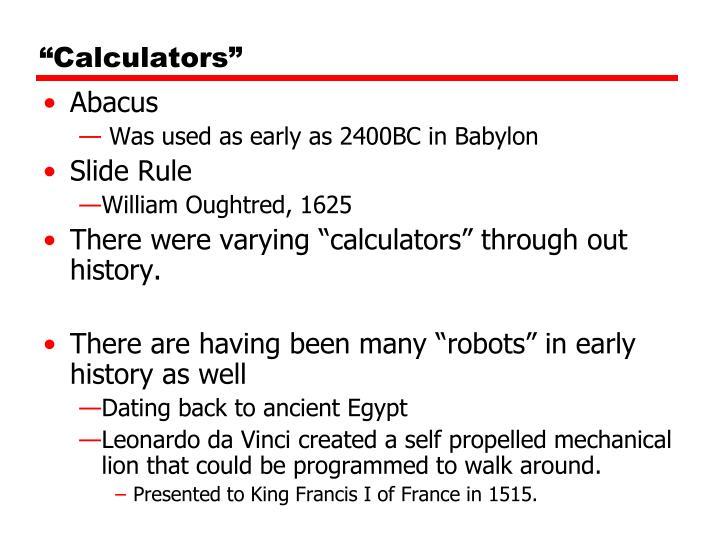 """""""Calculators"""""""