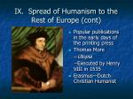 ix spread of humanism to the rest of europe cont