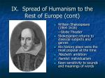 ix spread of humanism to the rest of europe cont1