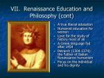 vii renaissance education and philosophy cont
