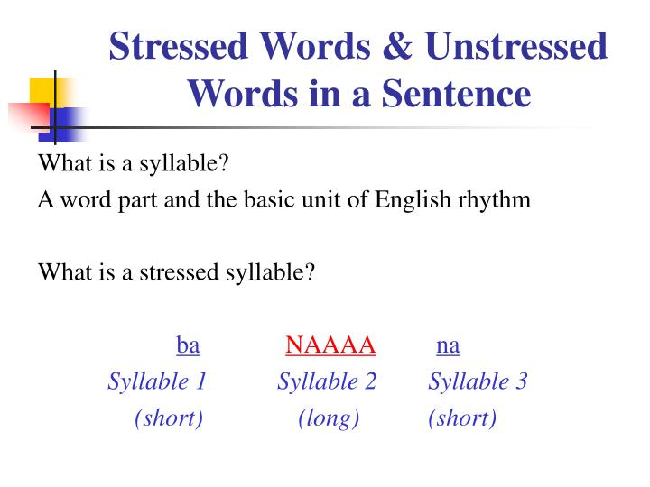 stressed words unstressed words in a sentence n.