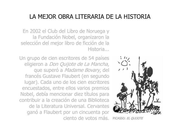 LA MEJOR OBRA LITERARIA DE LA HISTORIA