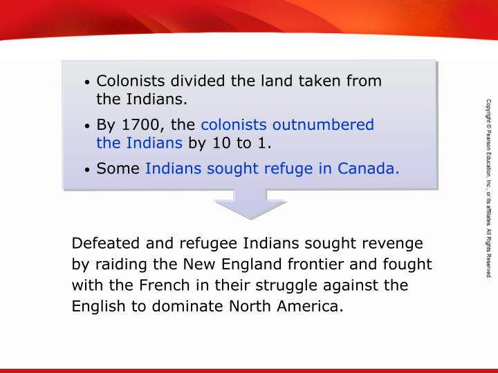 Colonists divided the land taken from the Indians.