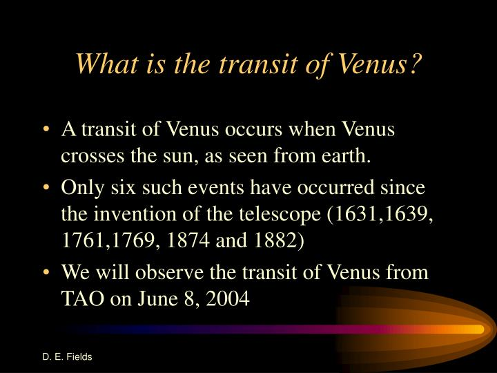 What is the transit of venus