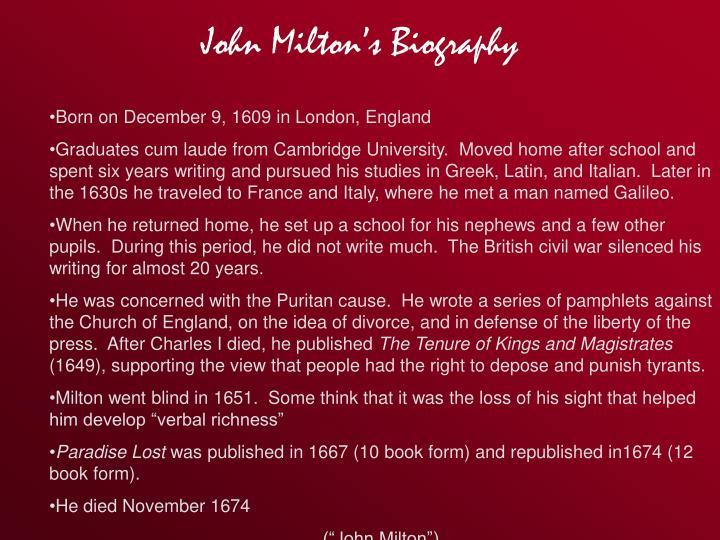 John Milton's Biography