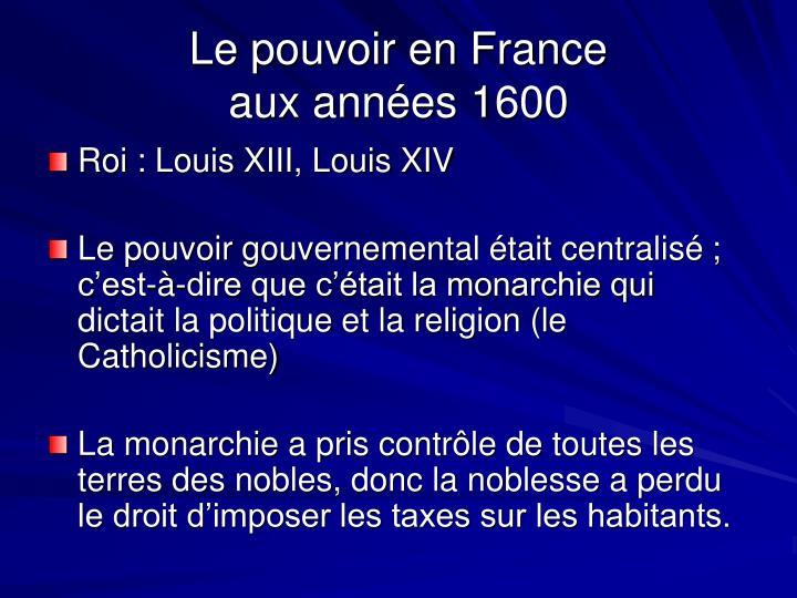 Le pouvoir en France