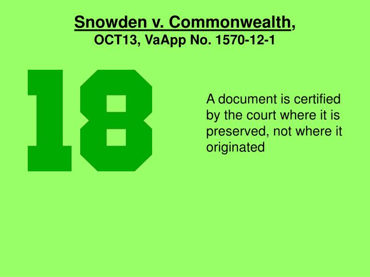 Snowden v. Commonwealth
