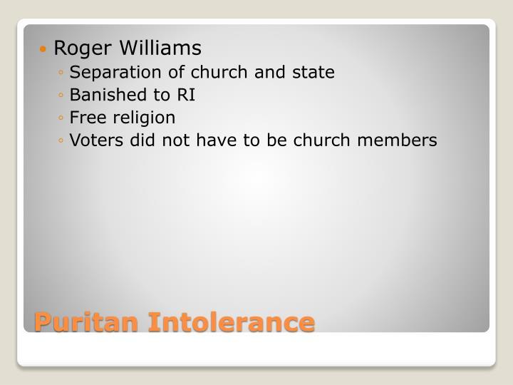 Puritan intolerance