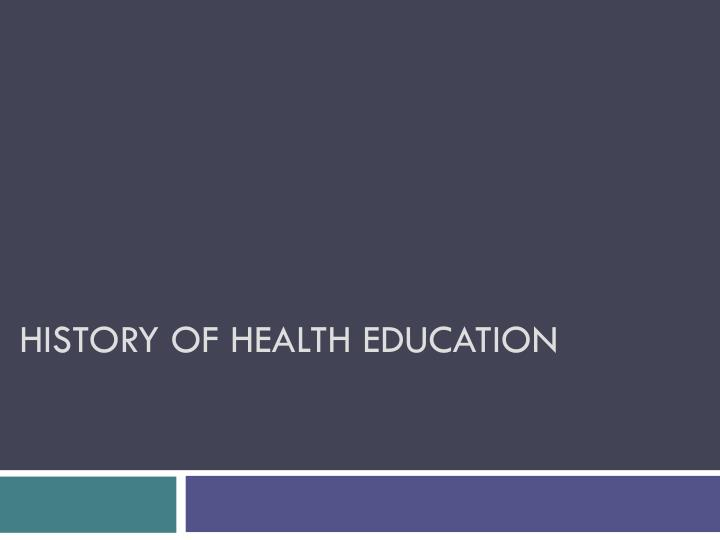 history of health education n.