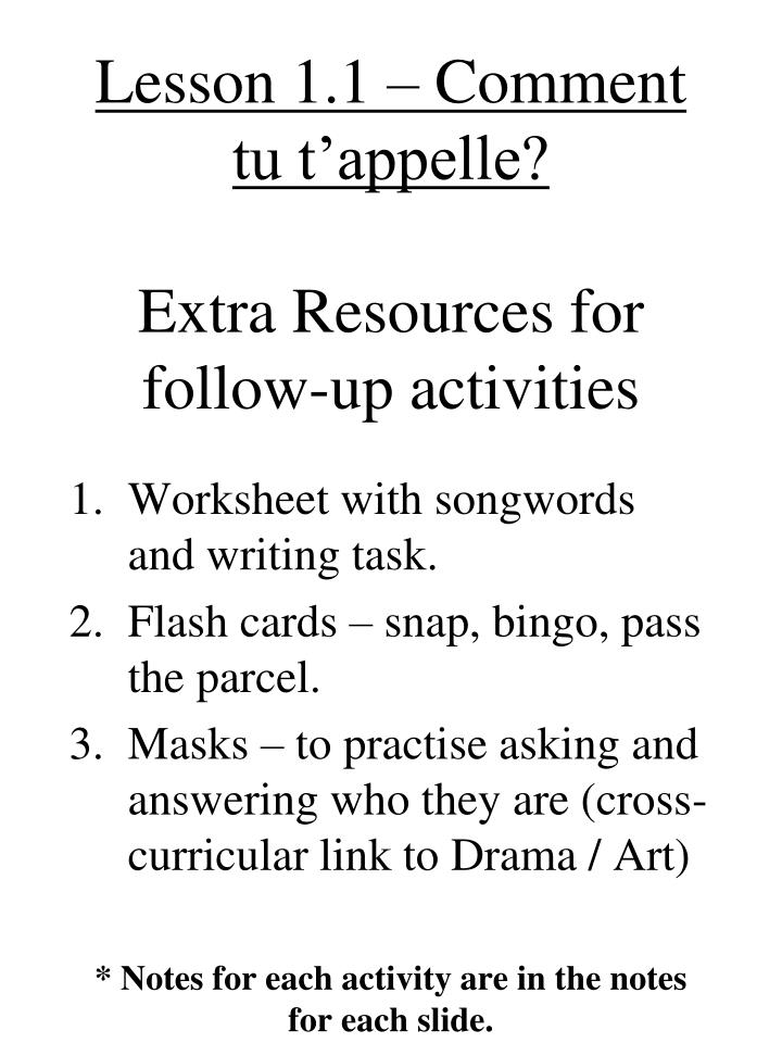 lesson 1 1 comment tu t appelle extra resources for follow up activities n.