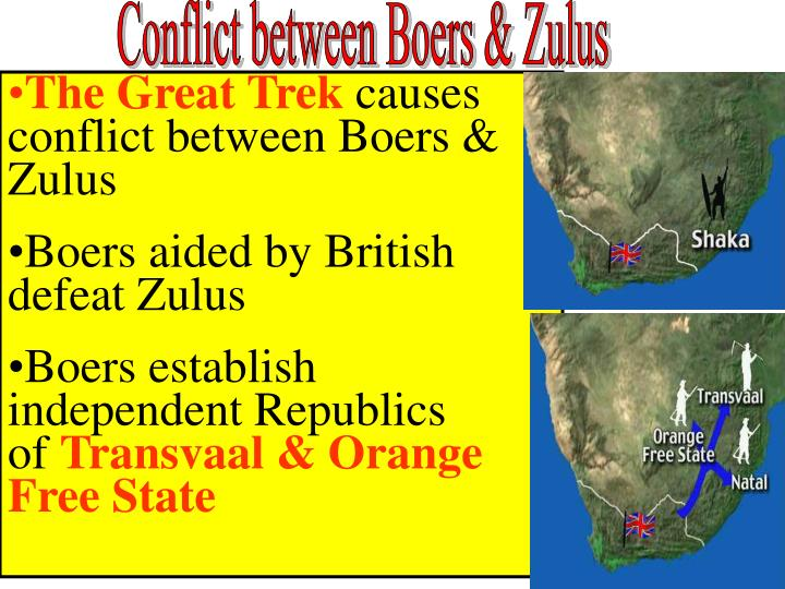 Conflict between Boers & Zulus