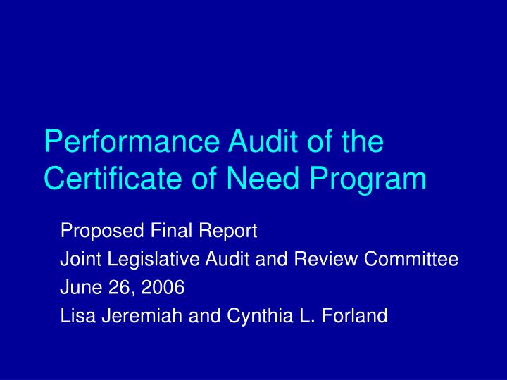 performance audit of the certificate of need program n.