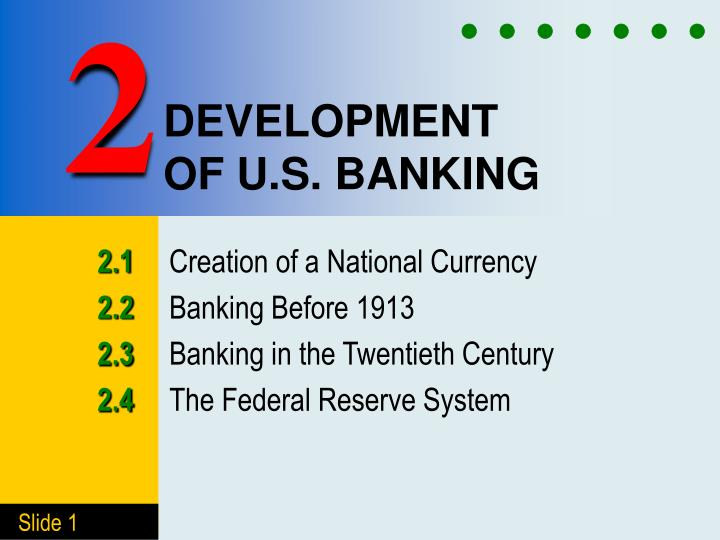 development of u s banking n.