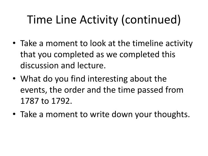 Time Line Activity (continued)