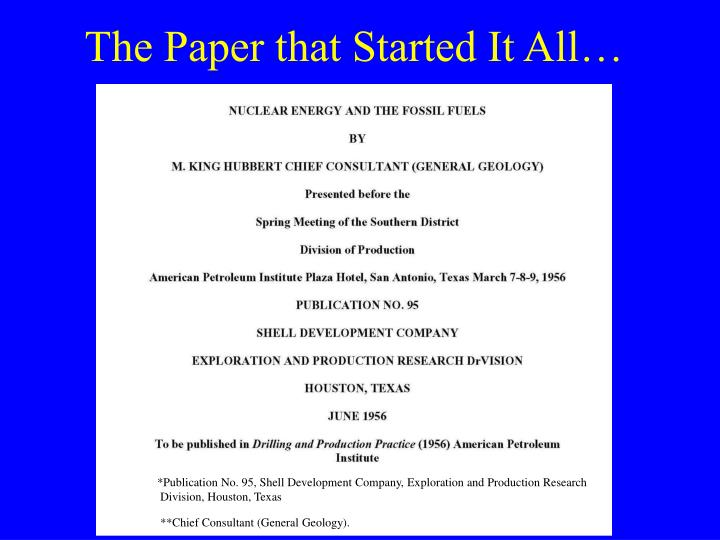 The Paper that Started It All…