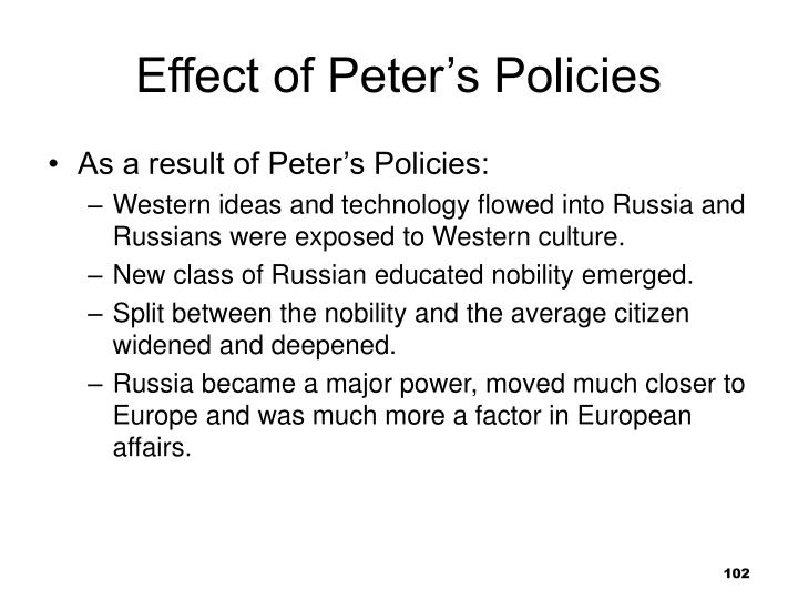 Effect of Peter's Policies