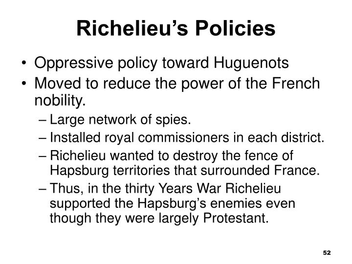 Richelieu's Policies