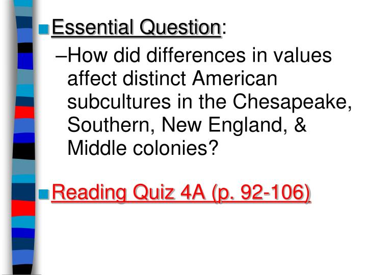 a comparison of the similarities and differences between the new england and chesapeake colonies Grade a original content mid -term essay written by dorene kirkingburg the new england colonies the chasm of cultural differences between.