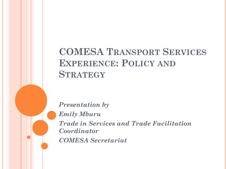 comesa transport services experience policy and strategy n.