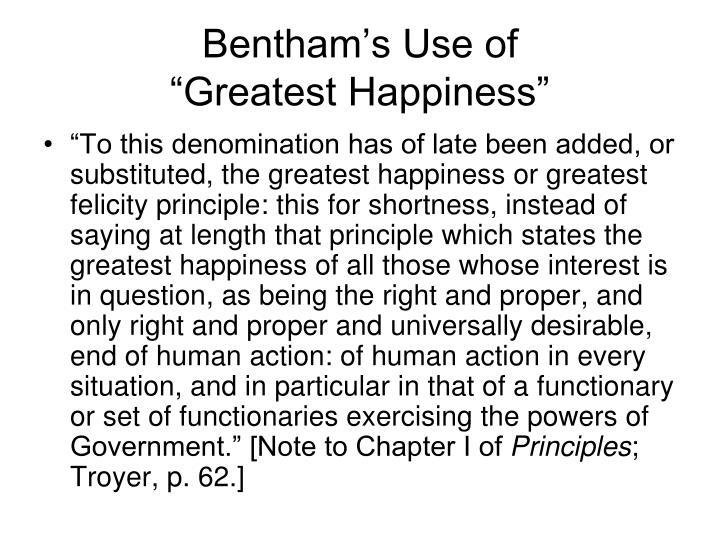 Bentham's Use of
