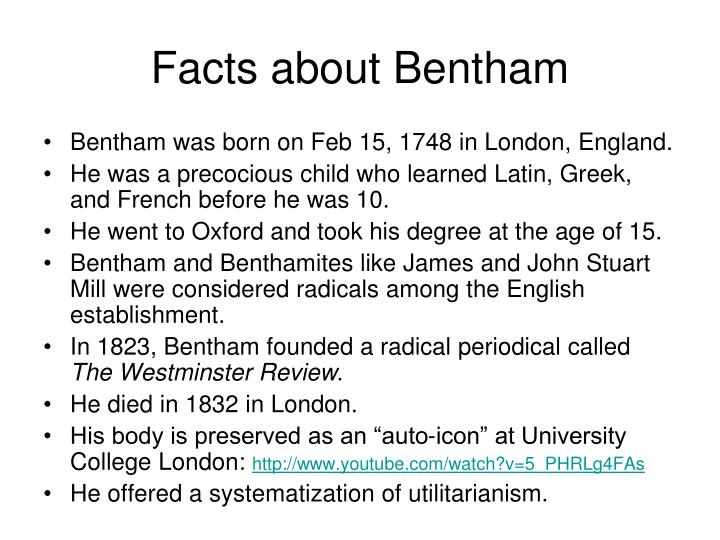 Facts about bentham