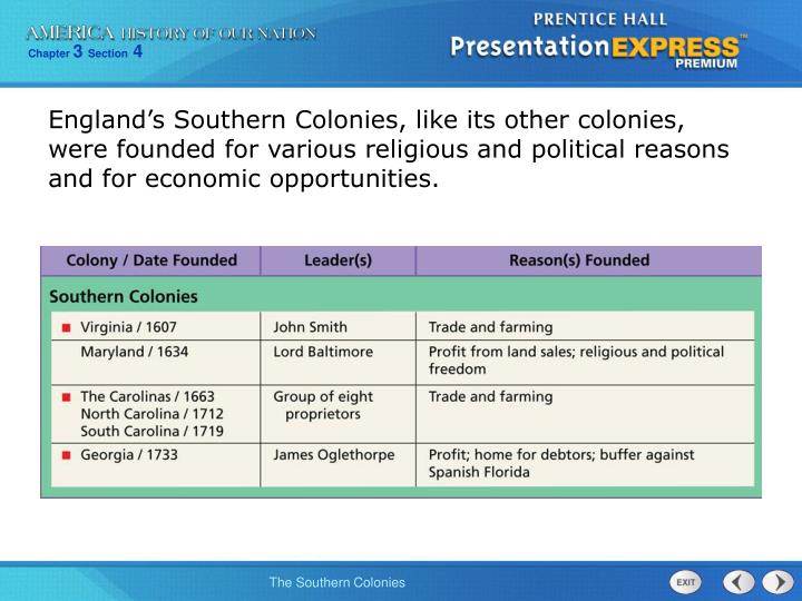 southern colonies political