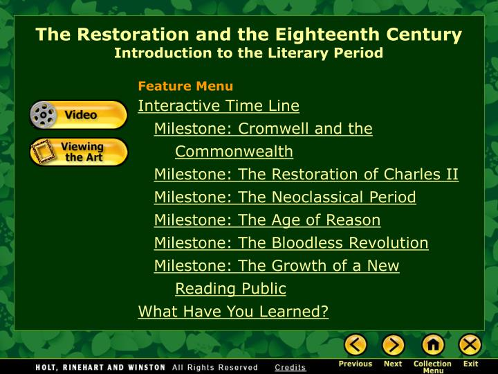 the restoration and the eighteenth century introduction to the literary period n.