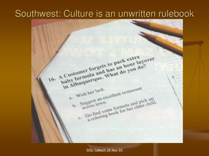 Southwest: Culture is an unwritten rulebook