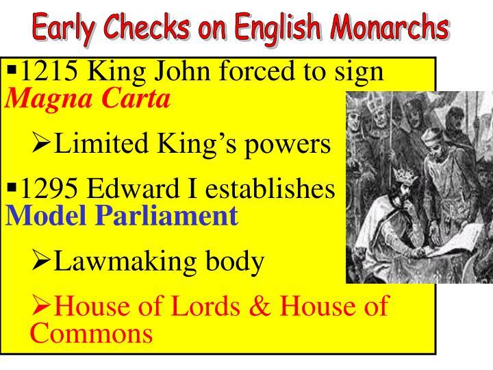 Early Checks on English Monarchs