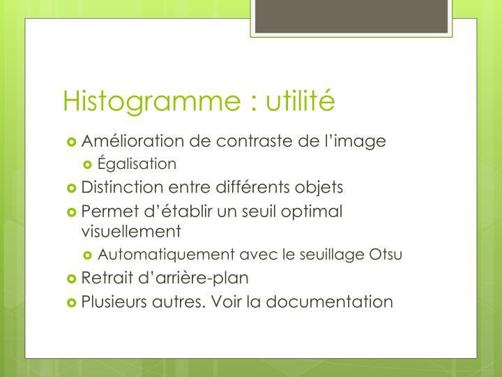 Histogramme : utilité