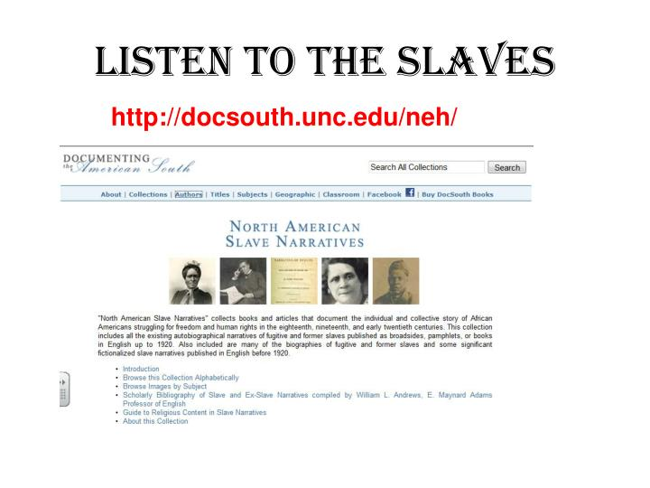listen to the slaves n.