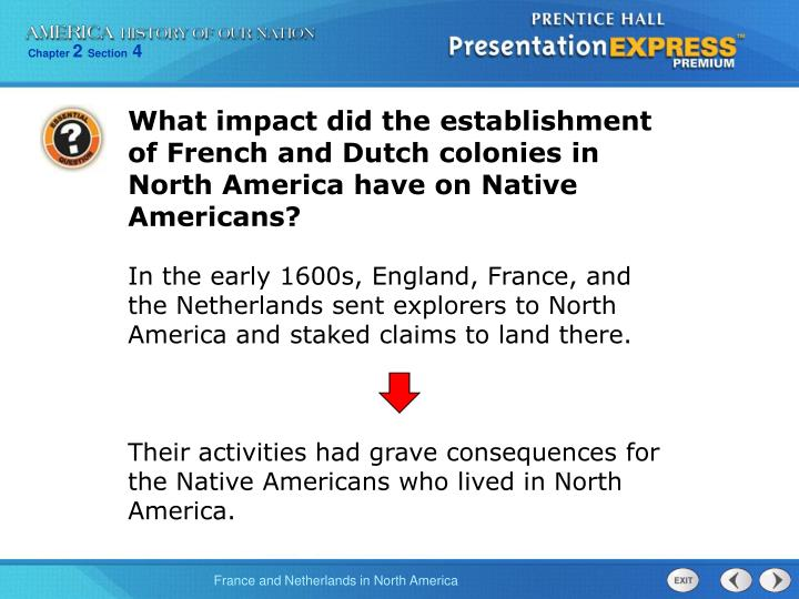 What impact did the establishment of French and Dutch colonies in North America have on Native Ameri...