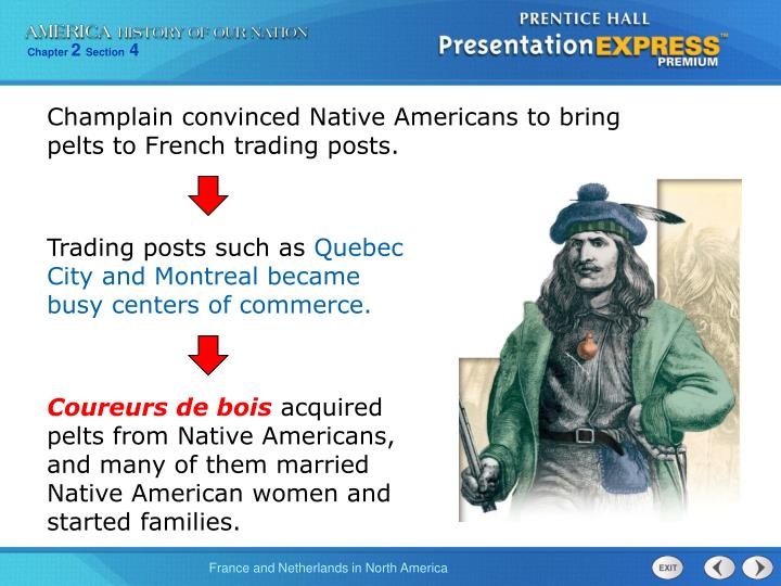 Champlain convinced Native Americans to bring pelts to French trading posts.