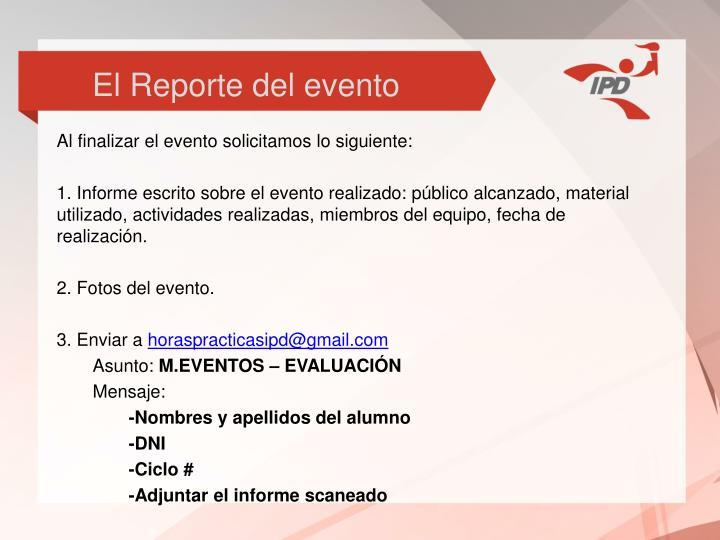 El Reporte del evento