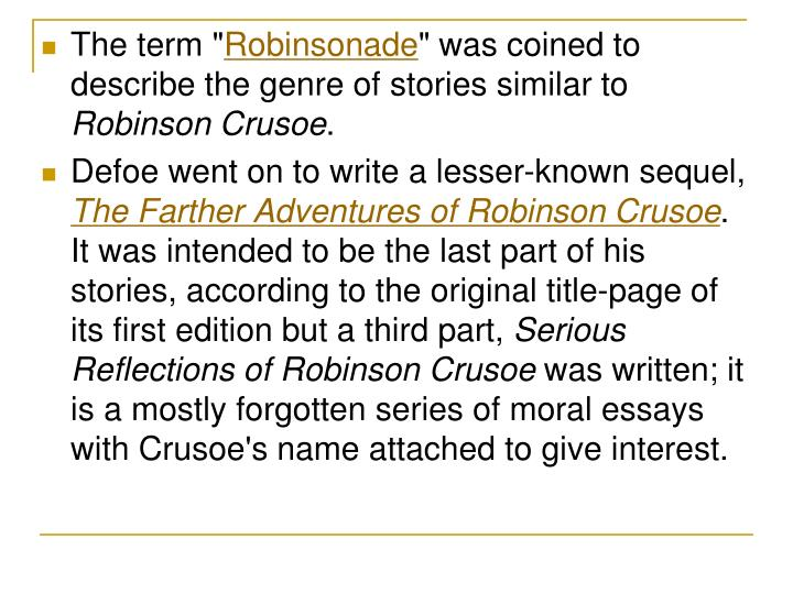 contrast the representation of friday in foe and robinson crusoe english literature essay As a first step in communication, crusoe, having let the man he rescued know his name should be friday,likewise taught him to say master, and then let him know, that was to be my name (robinson crusoe, 209) the iconic crusoe-friday image is that of the master's foot on the bowed head of the grateful but abject slave.