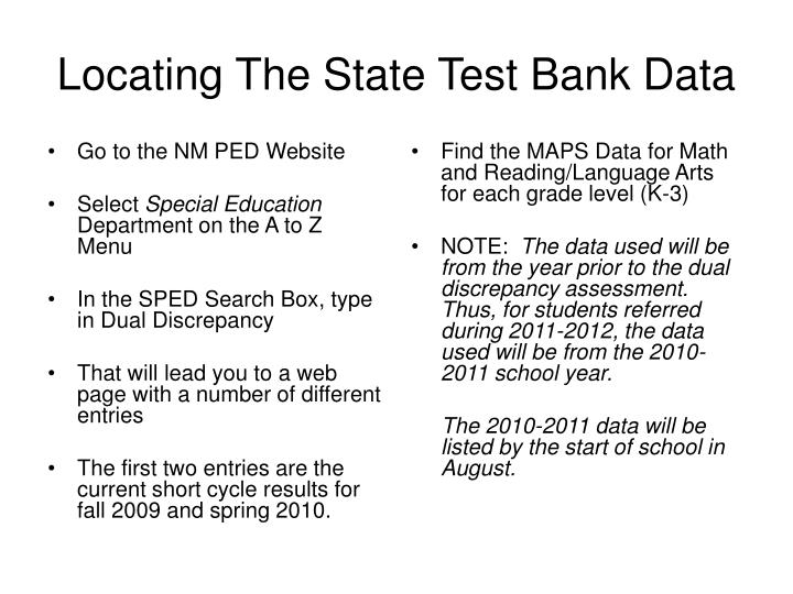 Locating the state test bank data
