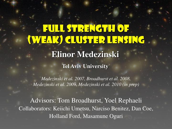 full strength of weak cluster lensing n.