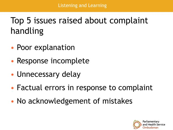 Top 5 issues raised about complaint handling