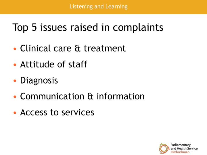Top 5 issues raised in complaints