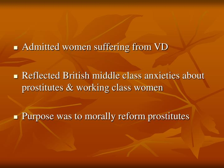 Admitted women suffering from VD
