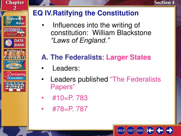 EQ IV.Ratifying the Constitution