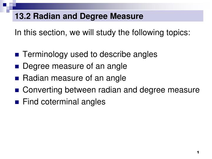 13 2 radian and degree measure n.
