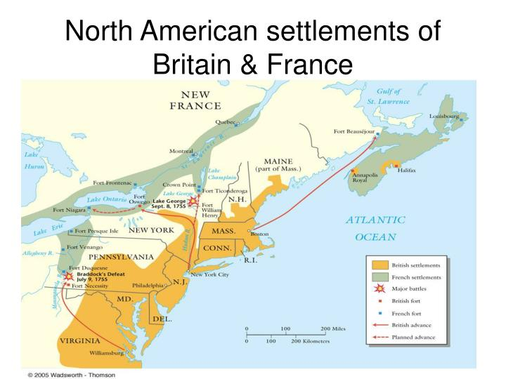 North American settlements of Britain & France